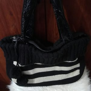 Murval sweater knit stripe purse with poms
